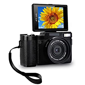 Digital Camera Camcorder Full HD Video Camera 1080p 24.0MP Vlogging Camera Flip Screen 180 Degree Rotation With Wrist Strap