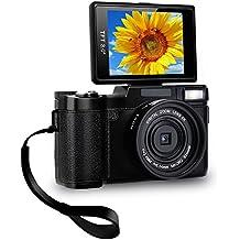 Digital Camera Camcorder Full HD Video Camera 1080p 24.0MP Vlogging Camera Flip Screen 180 Degree Rotation With Wrist Strap