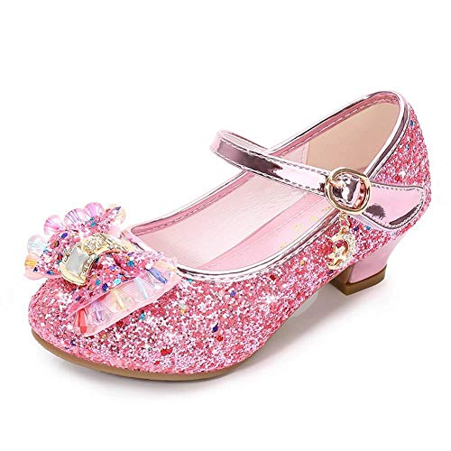Kinkie Kids Girls Mary Jane Flats Wedding Party Shoes Glitter Sequins Uniform School Ballerina Shoes Pink 13.5 M US Little Kid