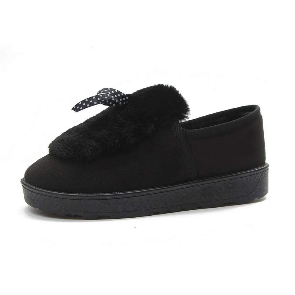 Oudan SAHNGXIAN Winter Schuhe Baumwolle Schuhe Plus Samt Peas Schuhe Plüsch Schuhe Flache Rutschfeste Schwangere Frauen Schuhe (Farbe   Schwarz Größe   39)