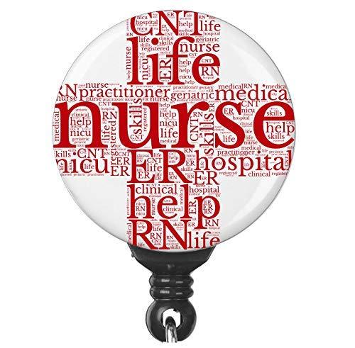 - Nurse Word Collage Badge Reel ID Holder for Nurses