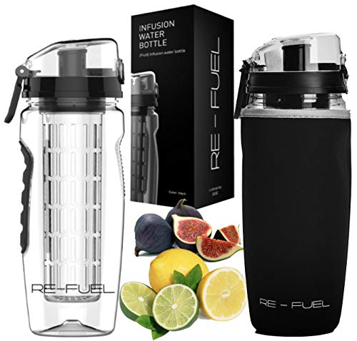 Re-Fuel 32oz Fruit Infuser Water Bottle – Large Capacity – Infused Water Bottle Bpa Free – Eco-Friendly – Leak Proof Design – Insulating Sleeve & Cleaning Brush Included – Recipe Ebook (Black)
