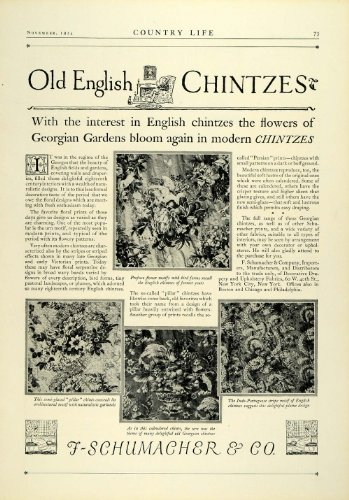 Old English Chintz Fabric Georgian Garden Floral Patterns - Original Print Ad (Georgian Pattern)