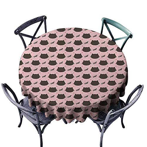 G Idle Sky Cat Dustproof Tablecloth Dark Head Silhouettes Hand Writing and Dots Girlish Kids Design Sweet Abstract Great for Buffet Table D47 Coral Seal Brown