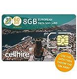 Cellhire Prepaid 4G Europe Data SIM Card - Europe 8GB Bundle - 30 Countries - 3-in-1 SIM
