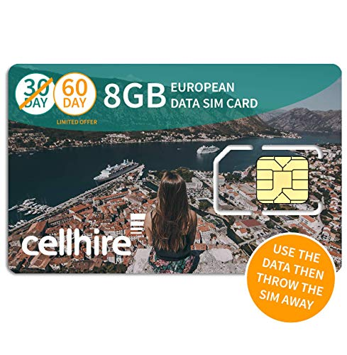 Cellhire Prepaid 4G Europe Data SIM Card - Europe 8GB Bundle - 30 Countries - 3-in-1 SIM from Cellhire