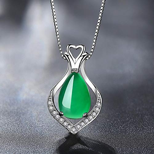 - Mayanyan S925 Silver Natural Chalcedony Pendant Vintage Clavicle Chain Necklace Women's Gift