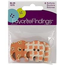 Favorite Findings Buttons, Pack of 8 Elephant Shaped Buttons, For Sewing or Craft Projects, 2 Designs Per Pack, Printed Wooden Buttons - Orange & Yellow