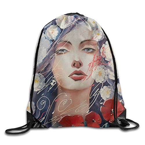Yishuo According To Legend Red Poppies Emerged From The Tears Of Venus Original Oil Painting Venus Drawstring Pack Beam Mouth Gym Sack Shoulder Bags For Men & Women (Zim Perfume)