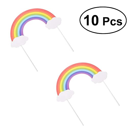 Decoración de Pasteles 10pcs Rainbow Cake Toppers Decoración ...