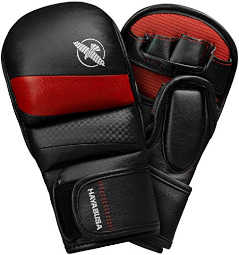 Hayabusa | T3 Hybrid 7oz Kickboxing and MMA Gloves | Men and Women | Black/Red| Large