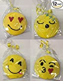 "Emoji Cookies - 12 Pack - Hand Decorated Cookie - Edible 4"" Emoticon Decorative Gourmet Smile Sugar Cookies w/ Fondant - Individually Wrapped"