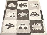 SoftTiles Transportation Theme Kids, Baby, Infant Foam Play Mats w/Sloped Edges Large 2' Floor Tiles 78'' x 78'' (6.5' x 6.5') Gray, White, Light Gray SCTRAGWH