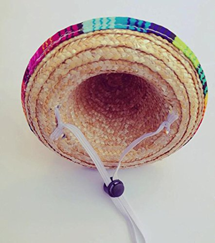 YJYdada Dog Hat Multicolor Dog Cat Mexican Straw Sombrero Hat Pet Adjustable Buckle Costume (A) - http://coolthings.us
