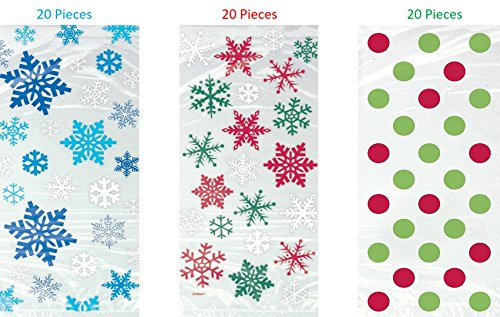Polka Dot Cello Bags (HOLIDAY PARTY!!! 60 Cellobags! 20 Snowflake Winter Party 20 Red & Green Snowflake Holiday 20 Red & Green Polka Dot Christmas Cellophane Bags,)