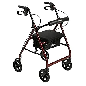 Drive Medical Aluminum Rollator Fold Up and Removable Back Support, Padded Seat with 7.5-Inch Casters, Red