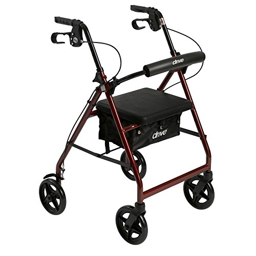 Drive Medical Aluminum Rollator Fold Up and Removable Back Support, Padded Seat with 7.5-Inch Casters, Red from Drive Medical