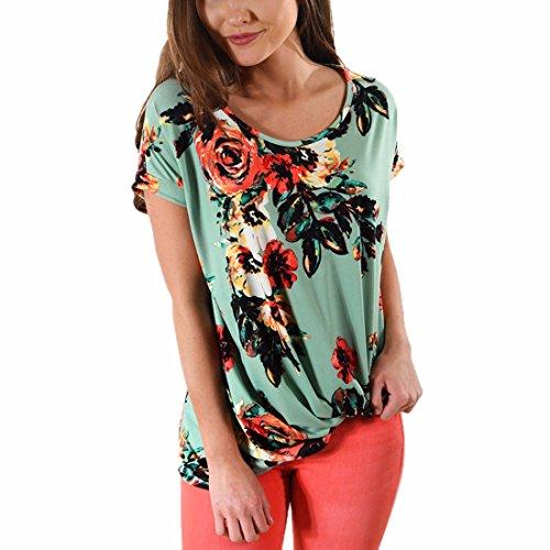 Las mujeres ocasional impresas florecen el cuello Multi Patten plisaron las camisas caseras de la camisa del hogar dark Verde