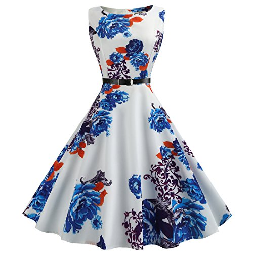 age 1950s Dress Floral Print Cocktail Party Fashion Cute Dress with Belt A Line Sleeveless Swing Sundress ()