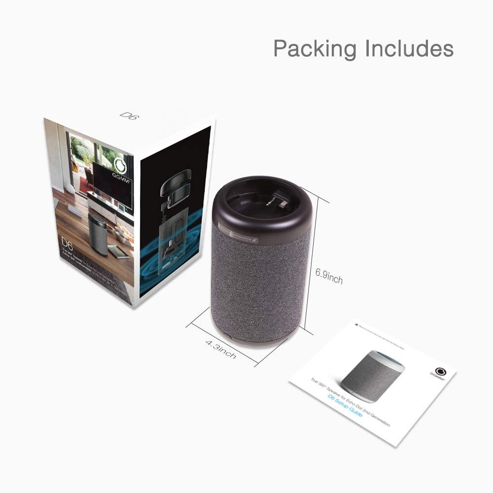 GGMM D6 Portable Speaker for Dot 2nd Generation, 20W Powerful True 360 Alexa Speakers (Black) (DOT Sold Separately)