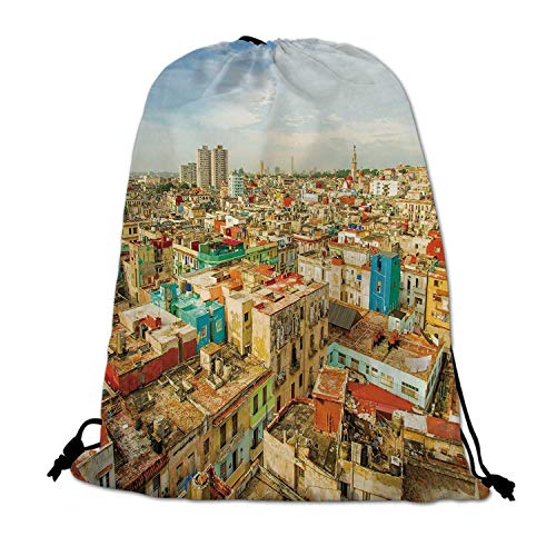 Travel Decor Lightweight Drawstring Bag,Panorama of Havana City Vedado District in Cuba Old Colorful Houses Historic Decorative for Travel Shopping,One_Size