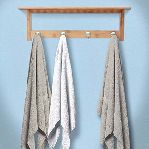 ToiletTree Products 100% Bamboo Wooden Natural Shelf with 4 Stainless Steel Hooks by ToiletTree Products (Image #6)