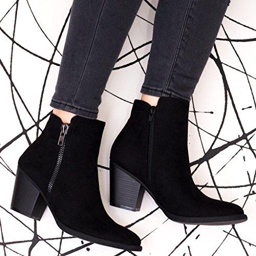 SPYLOVEBUY KAILA Damen Blockabsatz Stiefeletten Schuhe Schwarz -