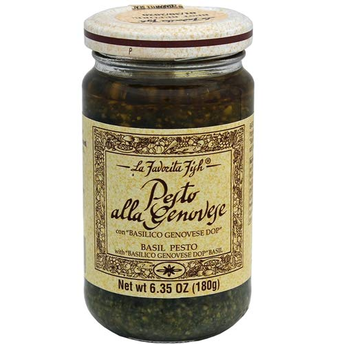 (La Favorita D.O.P. Vegan Basil Genovese Pesto Sauce, 6.35 oz jar (Pack of 2 jars))