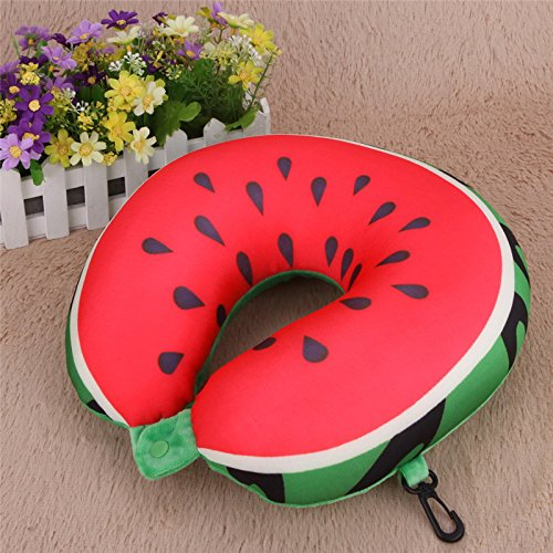 Money coming shop Creative Fruit U Shaped Pillow Nanoparticles Neck Protection Pillow Car Travel Message (Halloween Candy Bowl Message)