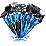CEENWES Update Version 7 In 1 Electric Razor Men Beard Trimmer Rechargeable Waterproof Rotary Shaver Professional Cordless Hair Clippers Nose Hair Trimmer Wet and Dry Grooming Set for Men and Women