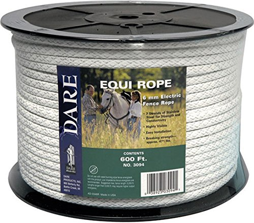 Dare Products 3094 Poly Equi-Rope, 6mm x 600-Feet Braided HDPE and Polyester Mix Rope with 7 Strands of Stainless Steel Wire, Approximately 1/4