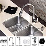 Kraus KBU22-KPF2170-SD20 Stainless Steel Double Bowl Sink with Faucet and Soap Dispenser