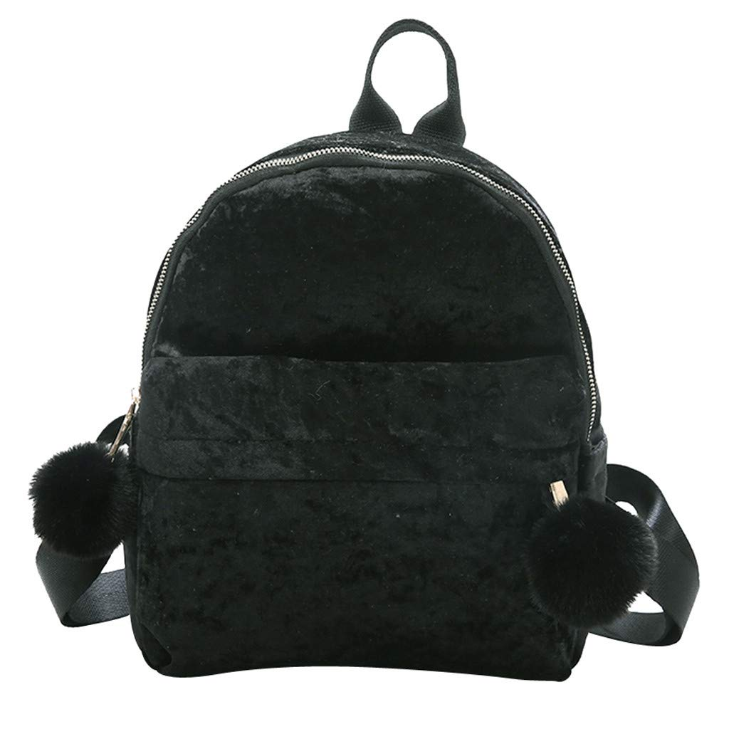 cd4717f3fb ZOMUSAR Women Girls Fashion Velour Mini Backpack Shoulder Bag Solid Color  School Travel Bags With Fur Ball (Black)  Shoes