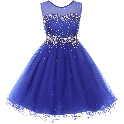 CrunchyCucumber Big Girls Short Length Sparkling Hand Bead Rhinestones On Illusion Tulle Flower Girl Dress Royal Blue - Size 14 (Dress Blue Illusion)