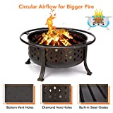 "KINGSO 36"" Fire Pit Outdoor Large Steel Wood"