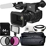 Panasonic HC-X1 4K Ultra HD Professional Camcorder 64GB Bundle 8PC Accessory Kit. Includes 64GB Memory Card + 3PC Filter Kit (UV-CPL-FLD) + 160 LED Video Light + HDMI Cable + MORE