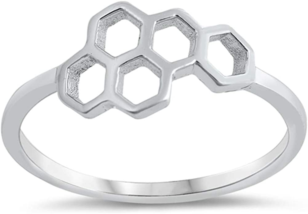 Honeycomb Hexagon Bumble Bee Nature Ring New 925 Sterling Silver Band Sizes 3-10