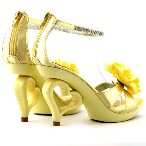 Mostrar historia 20 colores flor desmontable tobillo correa novia sandalias zapatos de boda, SM33101 amarillo claro