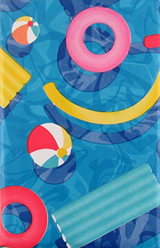 Summer Fun Pool Party Vinyl Flannel Back Tablecloth (60