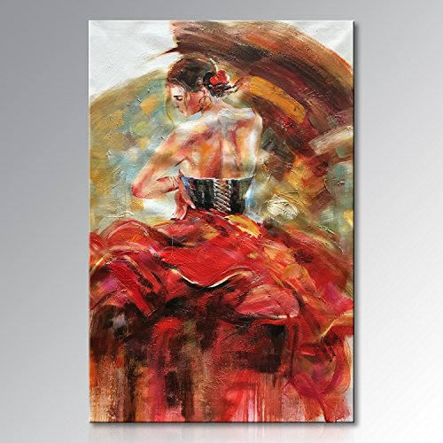 Seekland Art Hand painted Nude Lady Dancing with Red Dress Abstract Canvas Wall Art Impression Oil Painting Modern Contemporary Artwork Fine Pictures Unframed (2024 inch)