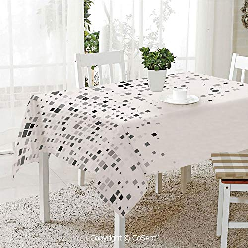 Water Resistant Tablecloth,Digital Pattern Composed of Geometric Elements Radiant Rectangle Parallel Picture,Washable Tablecloth Dinner Picnic Table Cloth Home Decoration(55.11