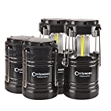 Portable Outdoor COB Camping Lantern LED Flashlight Water Resistant Collapsible Tent Light with Magnetic Base&Hook for Hiking,Emergencies,Hurricanes,Outages,Fishing(Batteries Not Included)(4 pack)