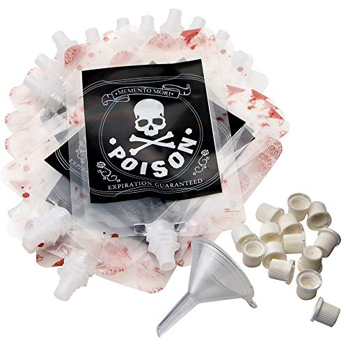 Luxcathy 250ML X 20 Bags Creative Poison Blood Bag for Party Drinks with Filling Funnel - Thicker and Leakproof Drink Containers, Alien Party , Black Party and Halloween Favors -