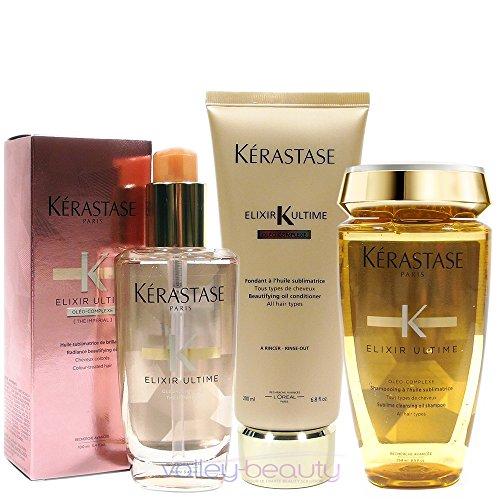 - Kerastase Elixir Ultime Huile Lavante Bain 250Ml Fondant Conditioner 200Ml And Coloured Hair Oil 100Ml Bundle