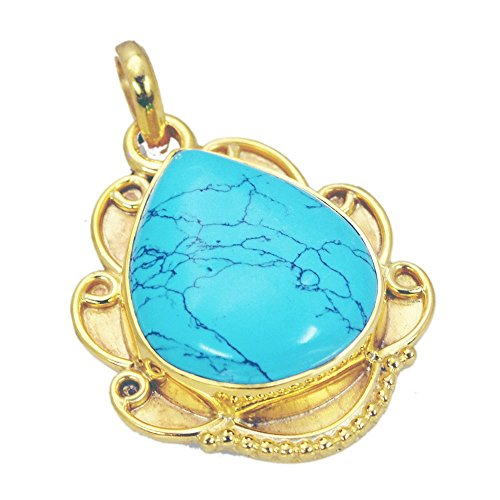 Jewelryonclick Genuine Gold Plated Turquoise Pendant Gifts for Her Handmade Locket Charms Chakra ()