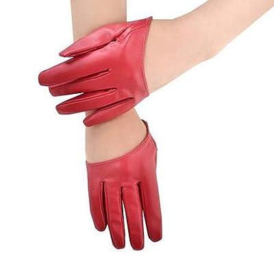 Mujeres Invierno Cálido Guantes De Cuero Moda Corto Clásico Negro Fácil De Igualar Bowknot Mitones Manoplas (Color : Rot, Size : M): Ropa y accesorios