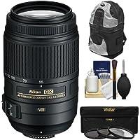 Nikon 55-300mm f/4.5-5.6G VR DX AF-S ED Zoom-Nikkor Lens with Backpack + 3 UV/CPL/ND8 Filters Kit for D3200, D3300, D5300, D5500, D7100, D7200 Camera