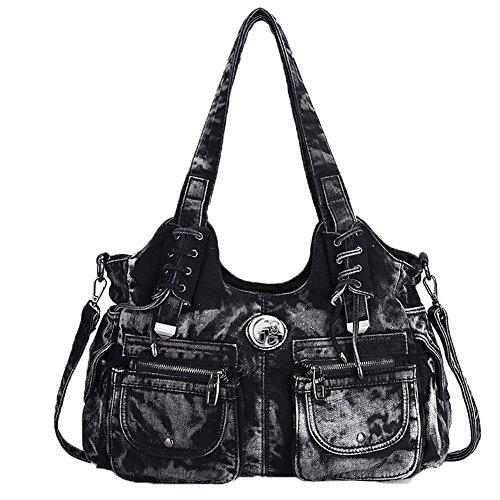 à avec college en main Noir pour adolescents scolaire toile bag sac sac grande adults voyage Owarder contenance jeans de shopping SwBRq5f