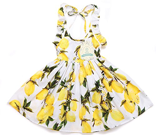 Flofallzique Little Girls Dress Lemon Yellow Vintage Baby Birthday Toddler Sundress Kids(7)