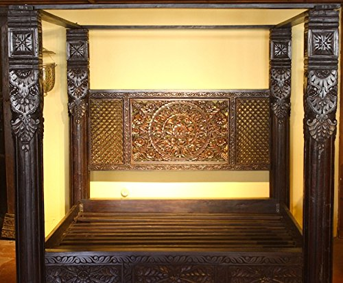 - Worldcraft Industries Lotus Pillar Canopy Bed, Hand Crafted from Solid Indian Rosewood